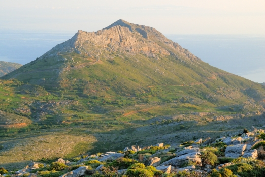 The ridge of Kefalas with the castle of Koskina - Ikaria Island - Greece - May 2011