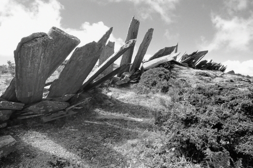 Old traditional stone fence - central mountain chain - Ikaria Island - Greece - May 2012