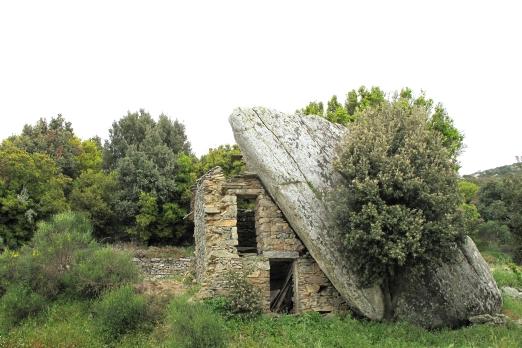 Old traditional ikarian stone house near Vrakades - Ikaria Island - Greece - May 2011