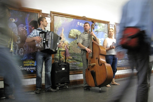 Musicians in an underground station - Paris - July 2011