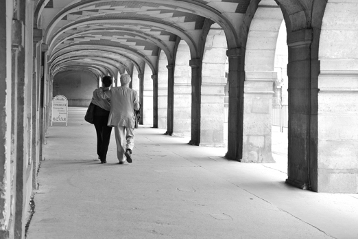 Impression of the arcade of Place des Vosges - Paris - July 2011