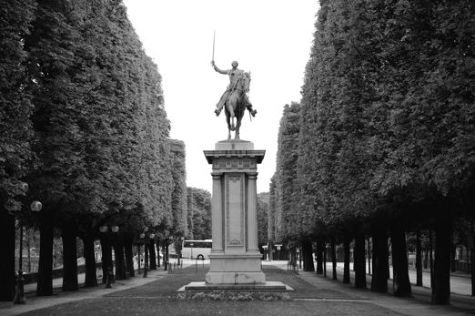 La Fayette - statue of an equestrian monument near Pont Alexandre III - Paris - July 2011