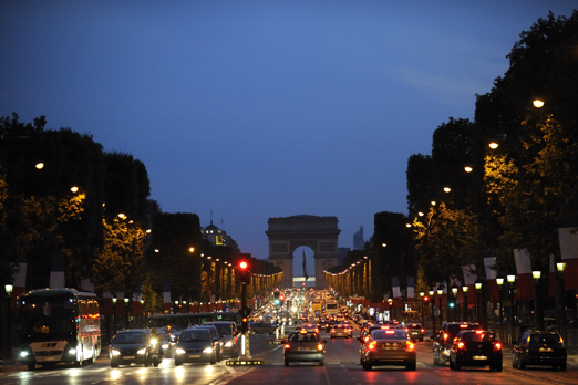 Nightly impression of Avenue des Champs-Elysees - Paris - July 2011