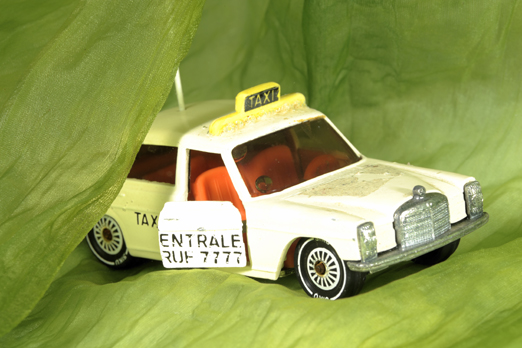 Underwater photo of a small taxi model - Nordbad - Darmstadt - Germany - 2009