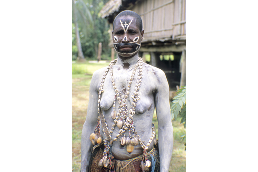 Native wearing ceremonial make-up - Yimas area - East Sepik Province - PNG 2007