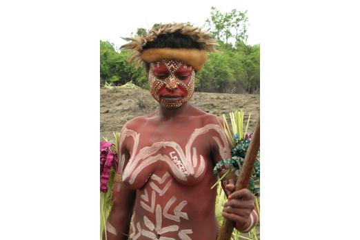 Native wearing a ceremonial make-up - Yimas area - East Sepik Province - PNG 2007