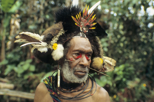 Native of the Huli tribe wearing a head dress - Southern Highlands Province - PNG 2006