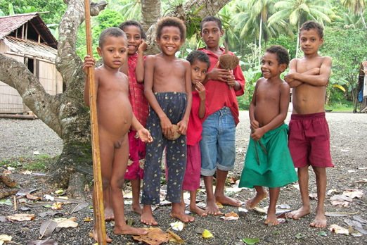 A group of children wish you a welcome - near East Cape - Milne Bay Province - PNG 2006