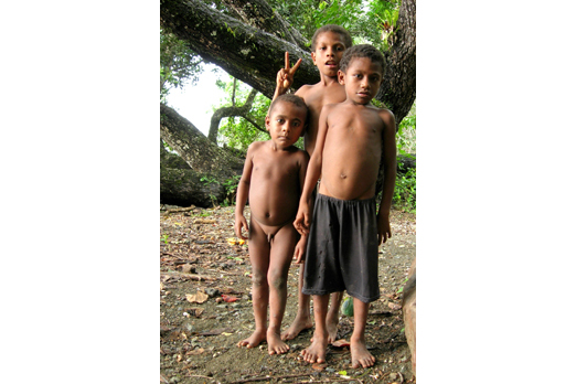 Nosey children - near East Cape - Milne Bay Province - PNG 2006